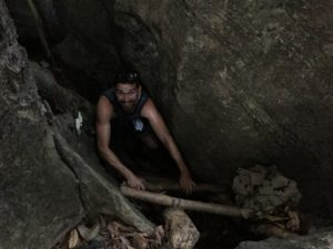 Ladder into jungle cave